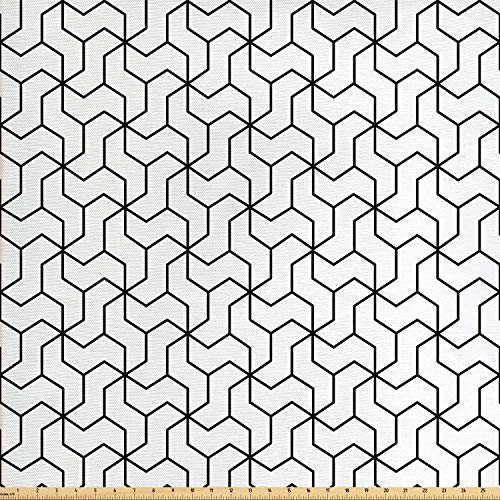 - Ambesonne Black and White Fabric by The Yard, Geometric Arrangement with Monochrome Design Lines and Optical Illusion, Decorative Fabric for Upholstery and Home Accents, 1 Yard, Black White