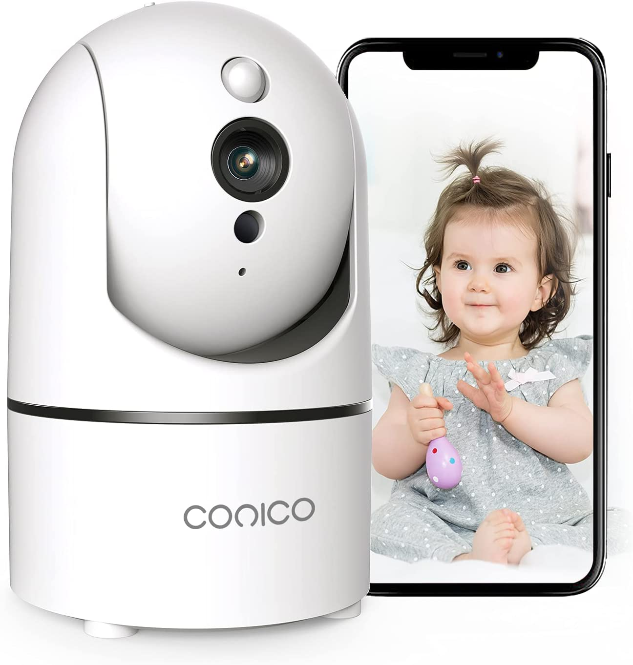 Conico Baby Monitor, 1080P Home Security Cameras with Sound Motion Detection 2-Way Audio Night Vision, Indoor Surveillance Camera for Pet/Nanny Monitoring, IP Camera Work with Alexa