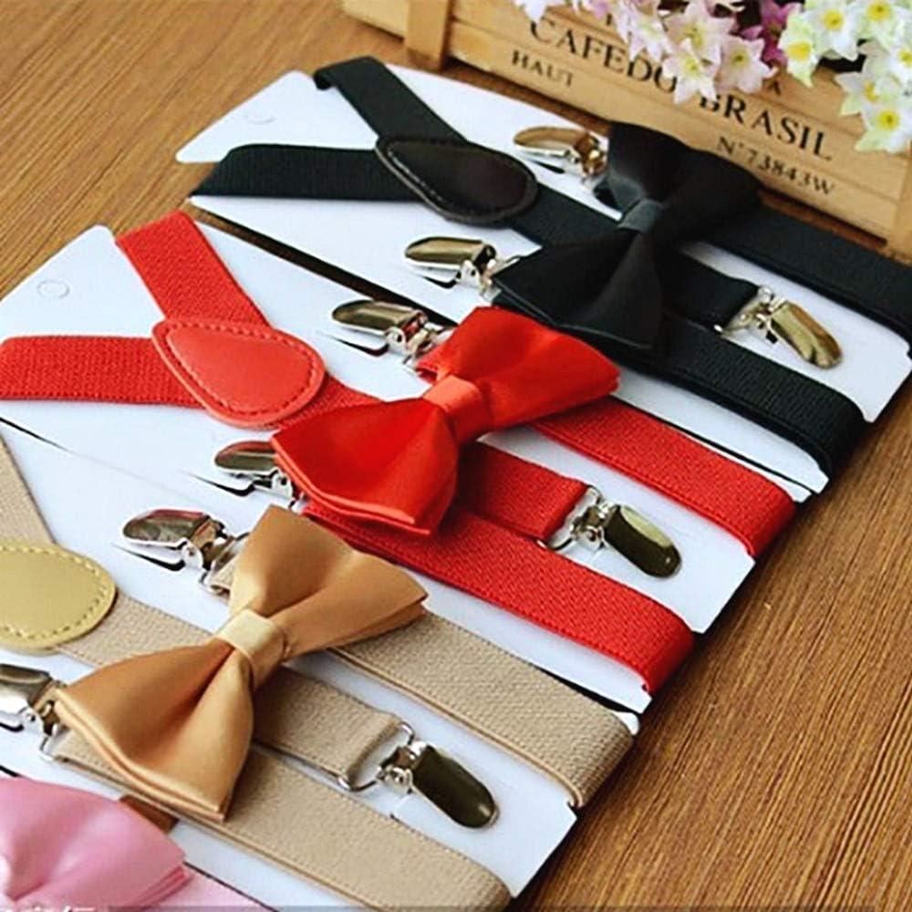 pajarita y tirantes el/ásticos ajustables pajarita idea de regalo de cumplea/ños color liso traje Lovelegis Tirantes ni/ño