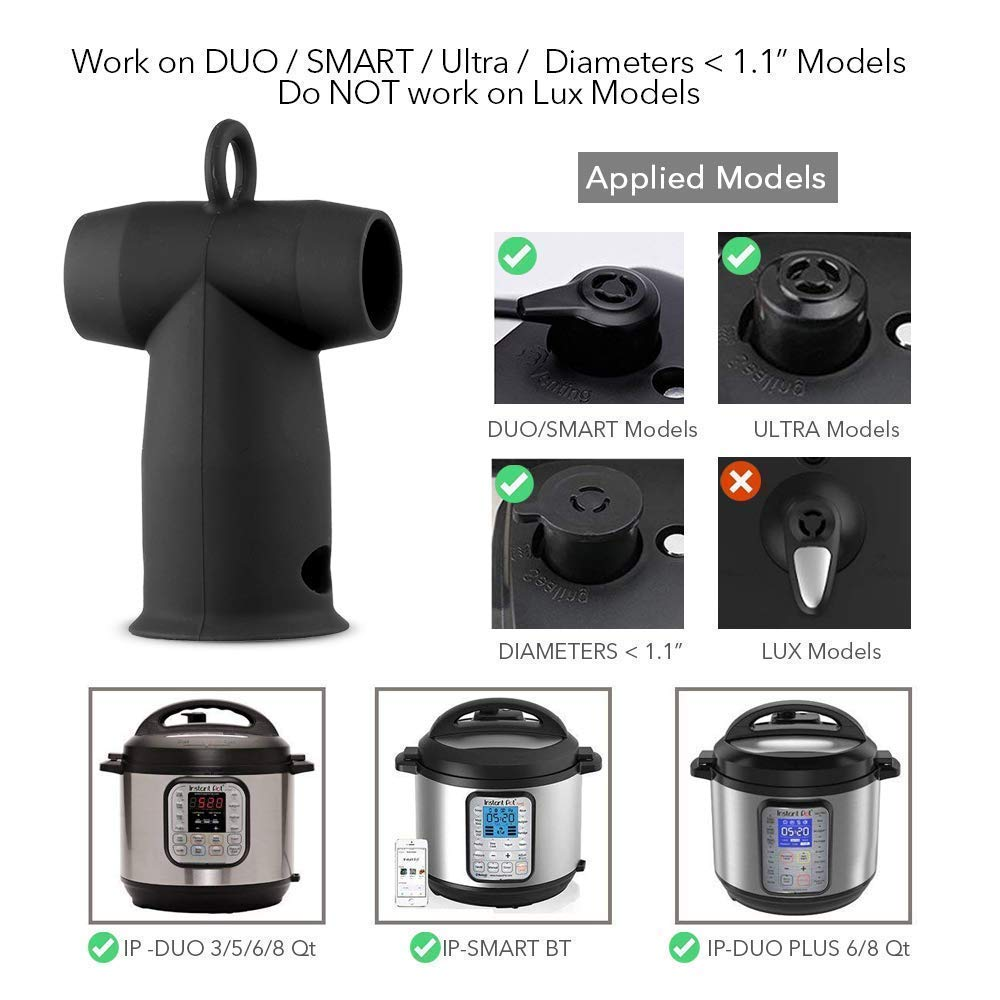 Steam Diverter Release Accessory for Instant Pot Electric Pressure Cooker, Silicone Steam Pipe Valve Attachment Handle Guide Fits Duo/Duo Plus/Smart Models (Black) by Hydream (Image #4)