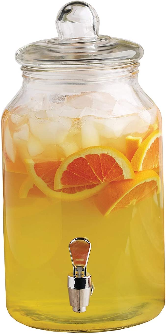 Circleware Mason Jar Beverage Dispenser and Glass Lid, New Fun Party Entertainment Home & Kitchen Glassware Pitcher for Water, Juice, Beer, Punch, Iced Tea, Cold Drinks, 1 Gallon, Charming