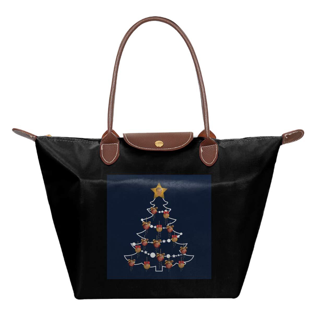 David Hasselhoff Christmas Tree Baubles Waterproof Leather Folded Messenger Nylon Bag Travel Tote Hopping Folding School Handbags