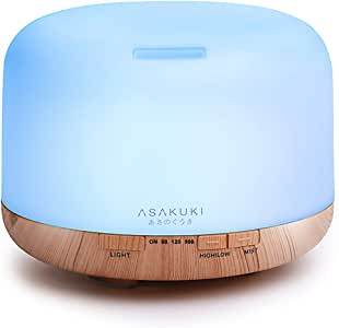 ASAKUKI 500ml Essential Oil Diffuser, 5 in 1 Ultrasonic Aromatherapy Fragrant Oil Vaporizer Humidifier, Timer and Auto-Off Safety Switch, 7 LED Light Colors