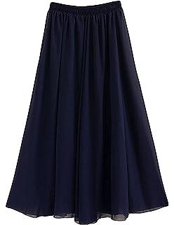 1c898dab8fa9 Afibi Damen Chiffon Retro Langer Maxi-Rock Weinlese-Kleid: Amazon.de ...