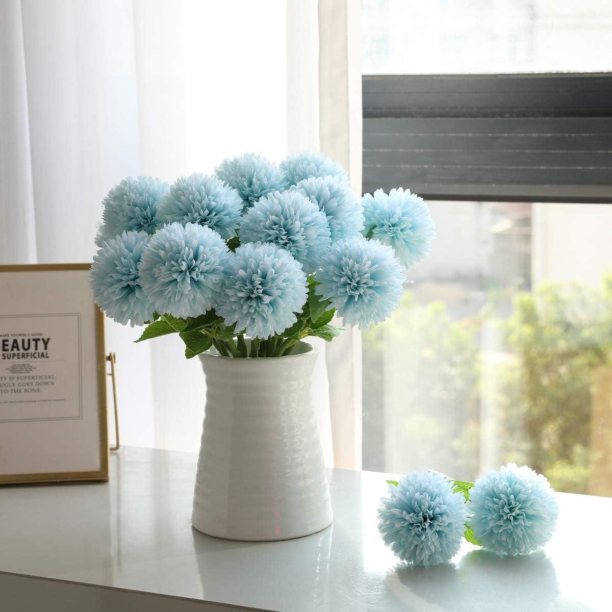 centrotavola Bouquet da Sposa Tifuly Fiori di Ortensia Artificiale Composizione Floreale Arancione 6 Pezzi di Fiori di Palla di crisantemo di Seta per la Decorazione del Giardino di casa