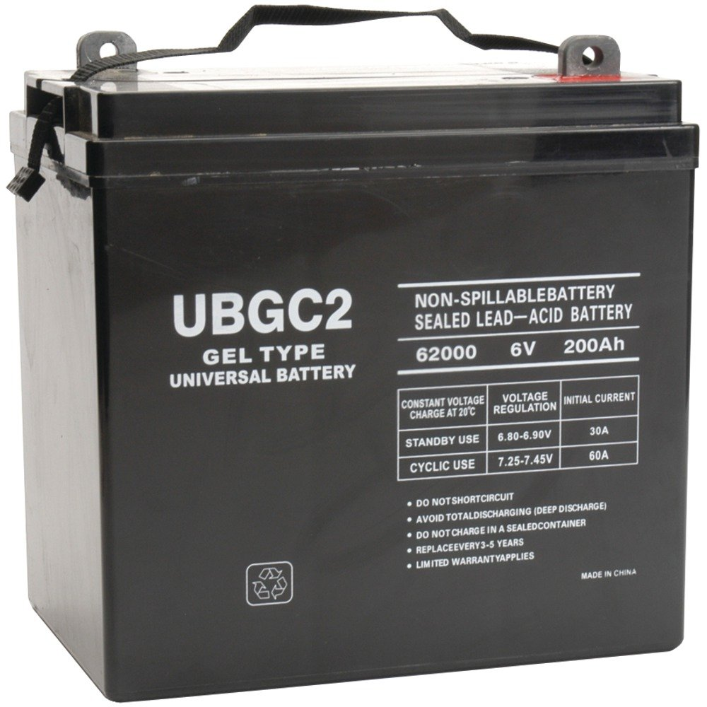 6 Volt 200 Amp Hour UB-GC2 Sealed Lead Acid Battery Replacement with L Terminals by UPG 40703