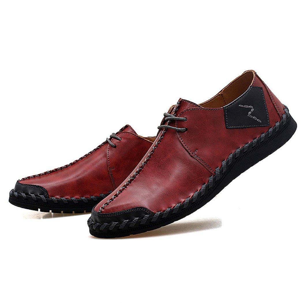GAOLIXIA Zapatos de Negocios de Cuero Genuino de los Hombres Zapatos Formales Zapatos de Trabajo de Verano Zapatos Casuales Vestido de Moda Zapatos Ocasionales de Gran Tamaño 38-47 44|Borgoa