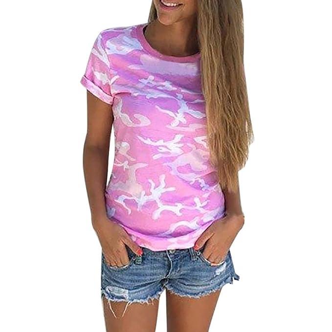 WINWINTOM Las Mujeres Casual Camiseta Camuflaje de Manga Corta de Verano Camisa Blusa (S,