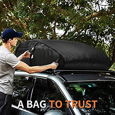 MIDABAO Car Roof Bag Top Carrier Cargo Storage Rooftop Luggage Waterproof PVC Soft Box Luggage Outdoor Water Resistant for Car with Racks,Travel Touring,Cars,Vans, (15 Cubic Feet): Automotive