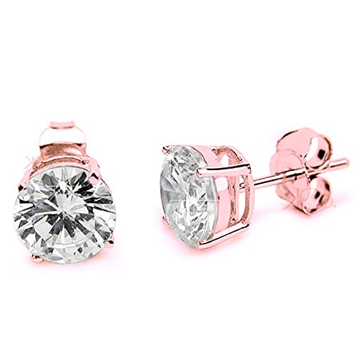 5a8c39fc5 Rose Gold Plated .925 Solid Sterling Silver Round Cubic Zirconia Studs  Casting 10MM
