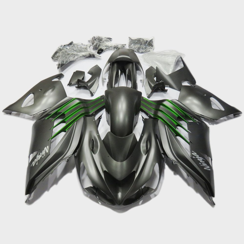 Amazon.com: ABS Injection Mold Matt Black Green Fairing Set ...