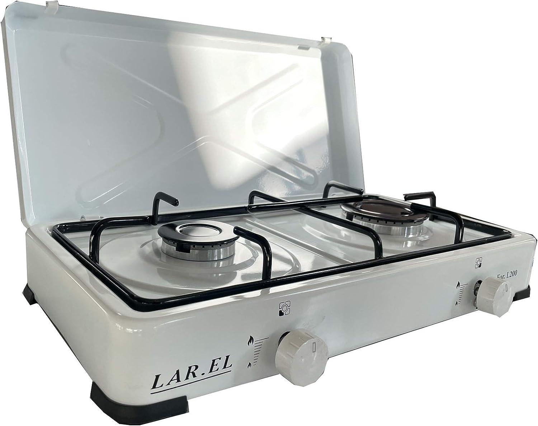 Larel - Hornillo de gas para camping blanco, funcionamiento a gas GLP, 2 fuegos con superficie de apoyo