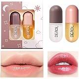 2pcs Natural Derol Lip Plumper - Plant Extracts Plumping Lip Serum Instant Volume Moisturizing Clear Lip Gloss for Fuller Lip