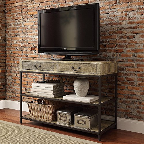 Modern Industrial Rustic Brown 2-Shelves Rectangle Shaped TV Stand Media Console with 2-Storage Drawers | Wooden Shelfs and Black Metal Frame, Living Room Decor - Includes ModHaus Living Pen
