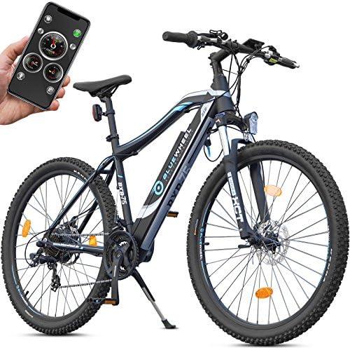 Bluewheel BXB75 - Bicicleta eléctrica de montaña con aplicación móvil, motor trasero de Bafang de 250 W, batería de 13 Ah, cambio de marchas Shimano 21, frenos de disco, hasta 24 km/h,