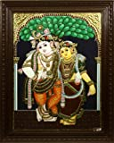 Radha Krishna (Framed) - Tanjore Painting - Traditional Colors with 24 Karat Gold