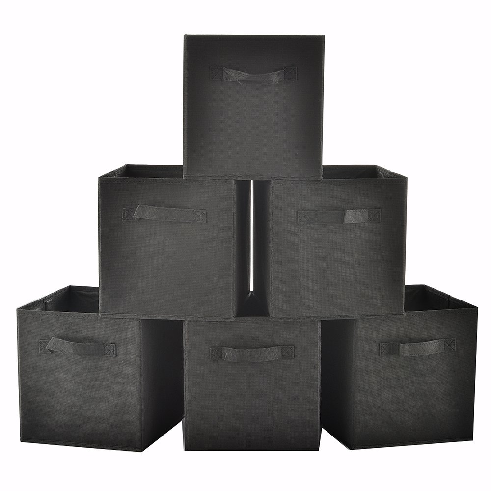 Ikebana Set Of 6 Foldable Fabric Storage Cubes, Black Collapsible Fabric Drawers Basket Bins Containers With Handle For Home Office Nursery Organization