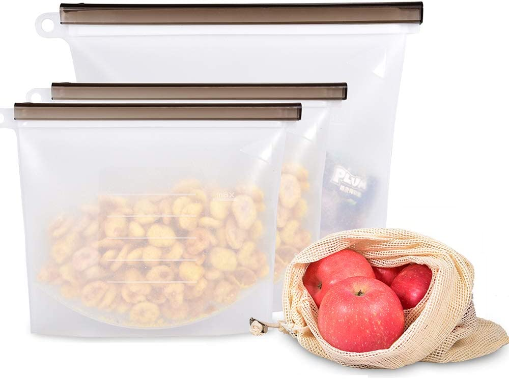 Reusable Silicone Food Storage Bags Set of 3 (1 Large 50oz, 2 Medium 32oz) + 1 Cotton Produce Bag Airtight Seal Container for Sandwiches/Veggies/Sous Vide/Freezer