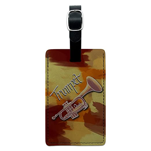 d8375f961679 Trumpet - Musical Instrument Music Brass Leather Luggage ID Tag Suitcase