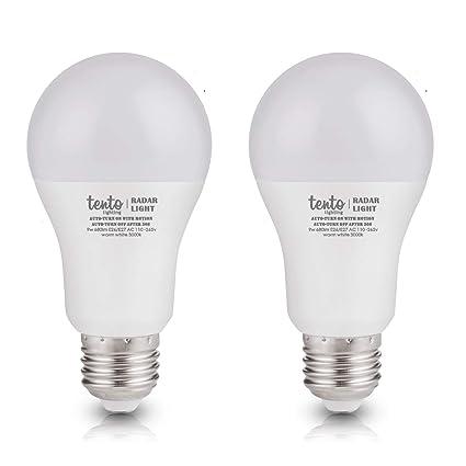 Motion Sensor Light Bulbs Dusk To Dawn Daylight Bright White Light 6000k 9 Watts 60w Equivalent Built In Radar Sensor Pack Of 2 Radar Motion Sensor