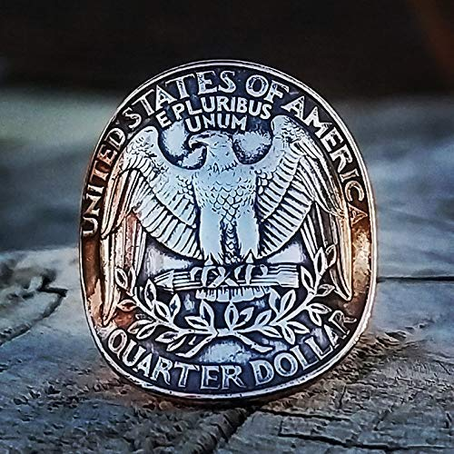 (America Coin Ring American eagle president Washington USA jewelry double sided personalized size wild animal love gift vintage charms for wife husband men women boyfriend girlfriend one of a kind gift )