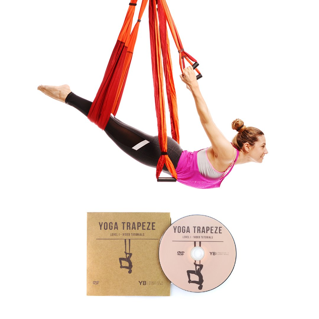 YOGABODY Naturals Yoga Trapeze [Official] - Yoga Swing/Sling/Inversion Tool with Free DVD, Orange