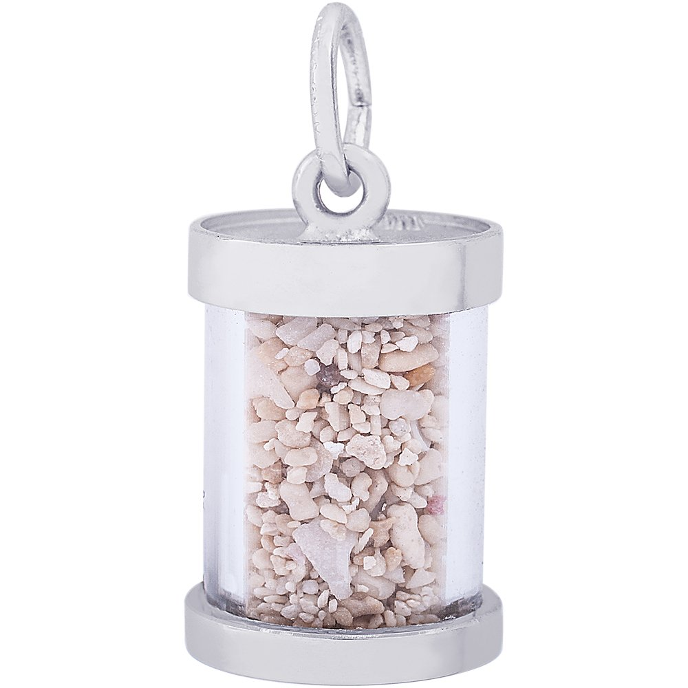 Rembrandt Charms Sterling Silver Bahamas Sand Capsule Charm on a 16 Box or Curb Chain Necklace 18 or 20 inch Rope