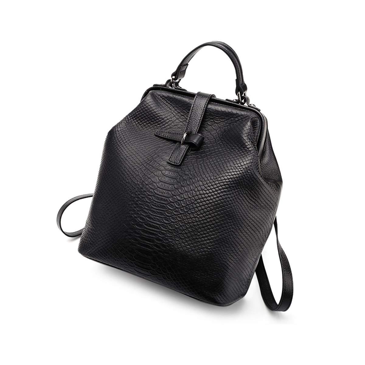 バックパック女性革製のハンドバッグ野生の大容量の女性のバックパック革旅行バッグの新しい韓国語版 (Color : Black) B07RRMBWR3 Black