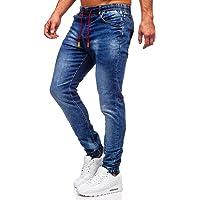 BOLF Hombre Pantalón Vaquero Jogger Denim Jeans Pantalón de Mezclilla Skinny Vaqueros Sombreado Vaqueros Ajustados de…