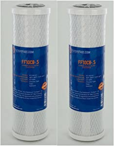 Filters Fast Compatible Replacement for FiltersFast FF10CB-.5 for GE FXUVC Single Stage Under Sink Water Filter - 2 Pack