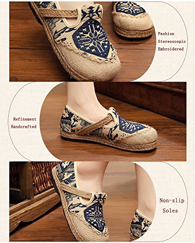 Flats by Elaiya Straw Embroidery Shoes Chinese Retro Woman Blue Shoes Shoes Single Linen Fashion Traditional Embroidered Bottom 5URxAqwA