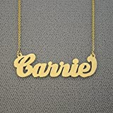 Carrie Necklace Solid 14k Yellow Gold Script Personalized Name Laser Cut Real Jewelry