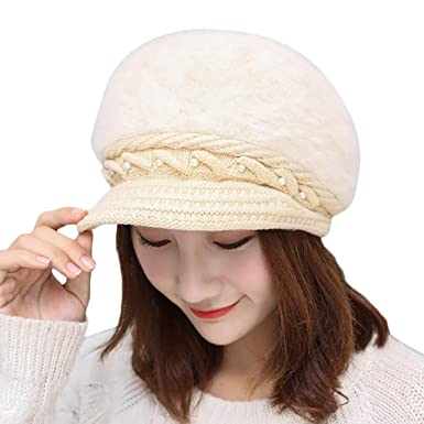 Women Winter Warm Knit Hat Wool Snow Knitting Ski Caps with Visor Ladies  Newsboy Beret Cap a402db69df3e