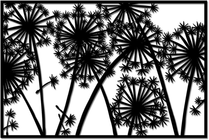 Metal Dandelion Wall Art Rustic Abstract Flower Wall Decor for Home Office Living Room Dandelion Black Wall Sculpture Garden Decorations 24x36inch