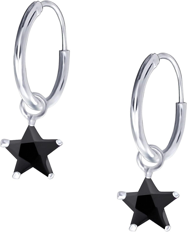 Jayare Pendientes de aro para niños de estrellas, plata de ley 925 y circonitas 19x 6mm, pendientes de niña en estuche de regalo estrella, color blanco, negro, rosa