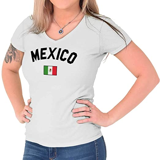 52b89f06c Mexico Flag Athletic Soccer Mexican National Flag Pride Junior Fit V-Neck  T-Shirt at Amazon Women's Clothing store: