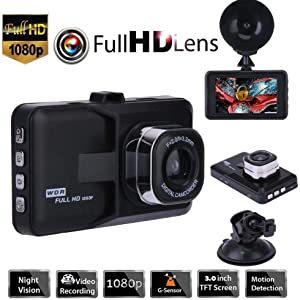 Red-eye 3 Inch Car Camera Full HD 1080P Dash Cam with Motion Detection Wide Angle Night Vision G Sensor for Cars, Trucks and Other Vehicles.
