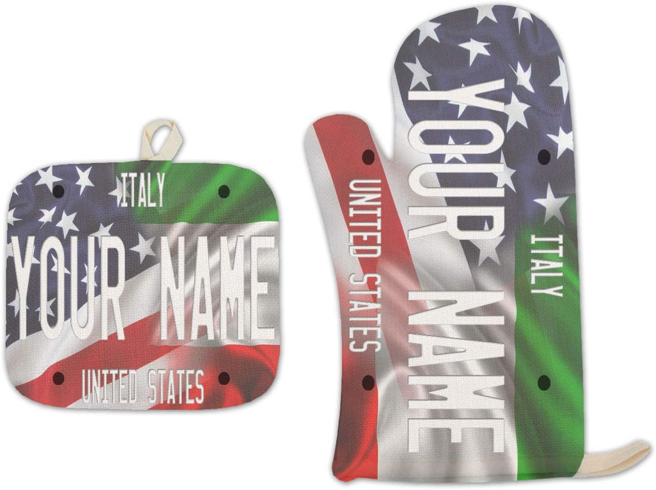 Bleu Reign BRGiftShop Personalized Custom Name Mixed USA and Italy Flag Linen Oven Mitt and Potholder Set