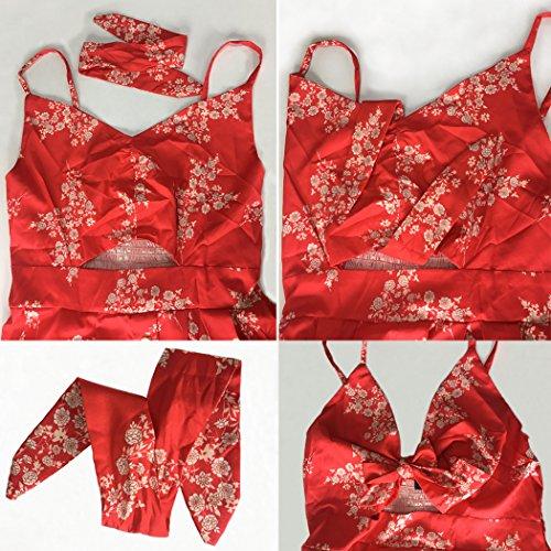 Ecowish Femmes Robes D'été Cravate Bouton Spaghetti Sangle Avant V-cou Vers Le Bas D'une Ligne Swing Robe Dos Nu Midi Rouge 1603
