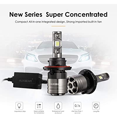 Auxbeam LED Headlight Bulbs F-T1 Series H13 LED Headlight Bulbs with 2 Pcs of Led Conversion Kits 70W 8000lm LED Chips Hi-Lo Beam with Temperature Control: Automotive