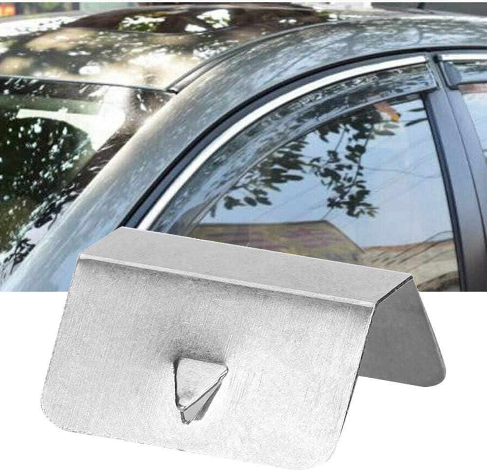 Clip per deflettore antivento Hlyjoon Finestra laterale per auto Visiera Canale Set di clip di fissaggio in acciaio inossidabile Kit di clip per auto parasole per parasole 6pcs
