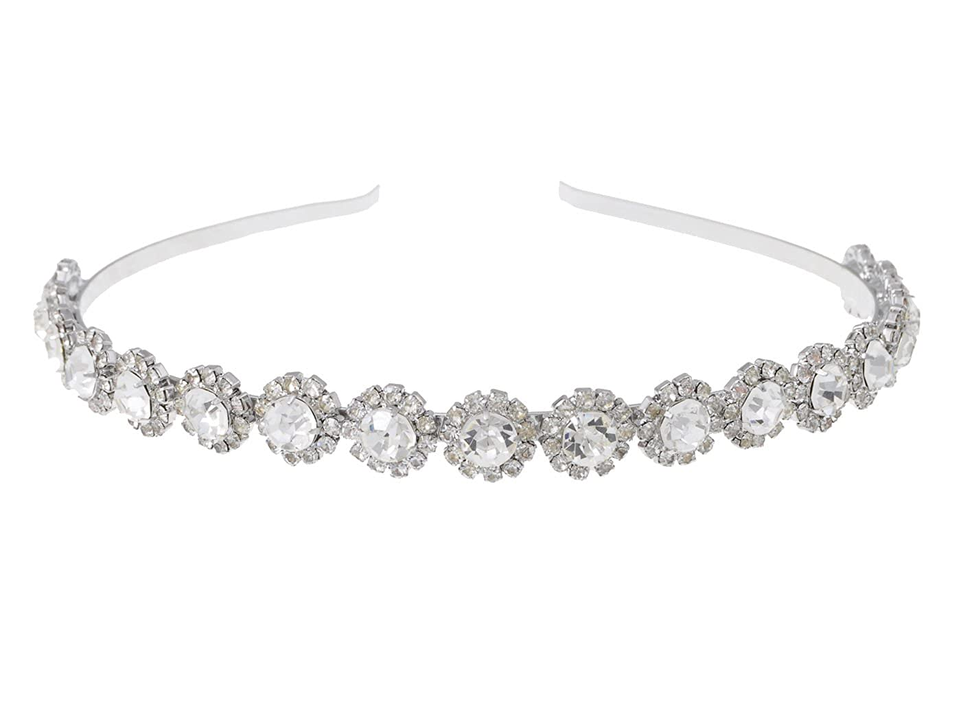 Alilang Silvery Clear Crystal Colored Rhinestone Studded Floral Metal Head Band Piece