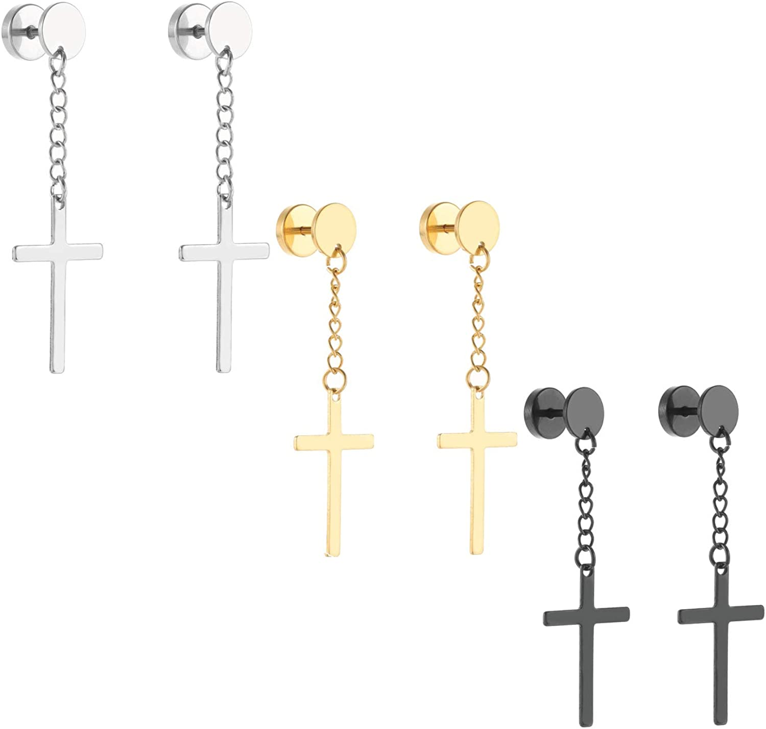 Szory Stainless Steel Dangle Cross Earrings for Men Women
