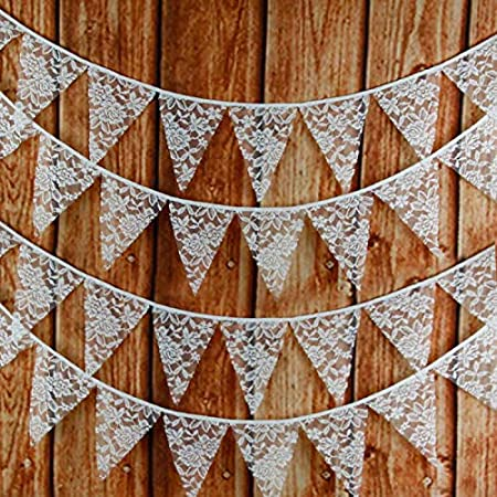 G2PLUS Large Lace Bunting Banner, 32.8 Feet Triangle Flag Garland 36PCS Floral Pennants, Double Sided Vintage Cloth Shabby Chic Decoration Wedding Birthday Parties (Lace 10M)