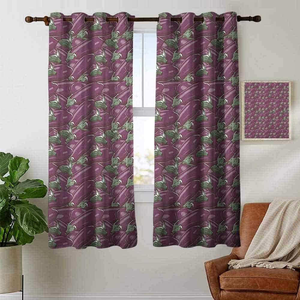 Amazon Com Petpany Print Curtains For Bedroom Curtain Eggplant Retro Inspired Stacks Of Delicious Eggplants Product Of Nature Ingredient Cusine Food Purple Grommet Window Treatment Set For Living Room 52 X63 Home Kitchen