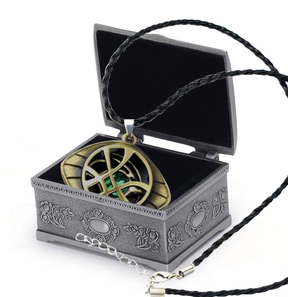 YANJIKEJI Doctor Strange Necklace Eye of Agamotto Costume Prop Stone Pendant with Jewelry Box ... (Necklace)