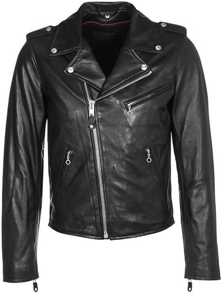 RedSeam Mens Genuine Lambskin Leather Motorcycle Slim Fit Biker Bomber Jacket RM073