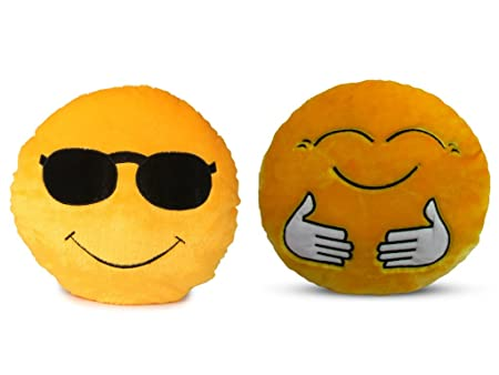 Deals India Soft COOL Dude Smiley and Hugging Smiley Cushion - 35 cm(smiley2&E) Set of 2