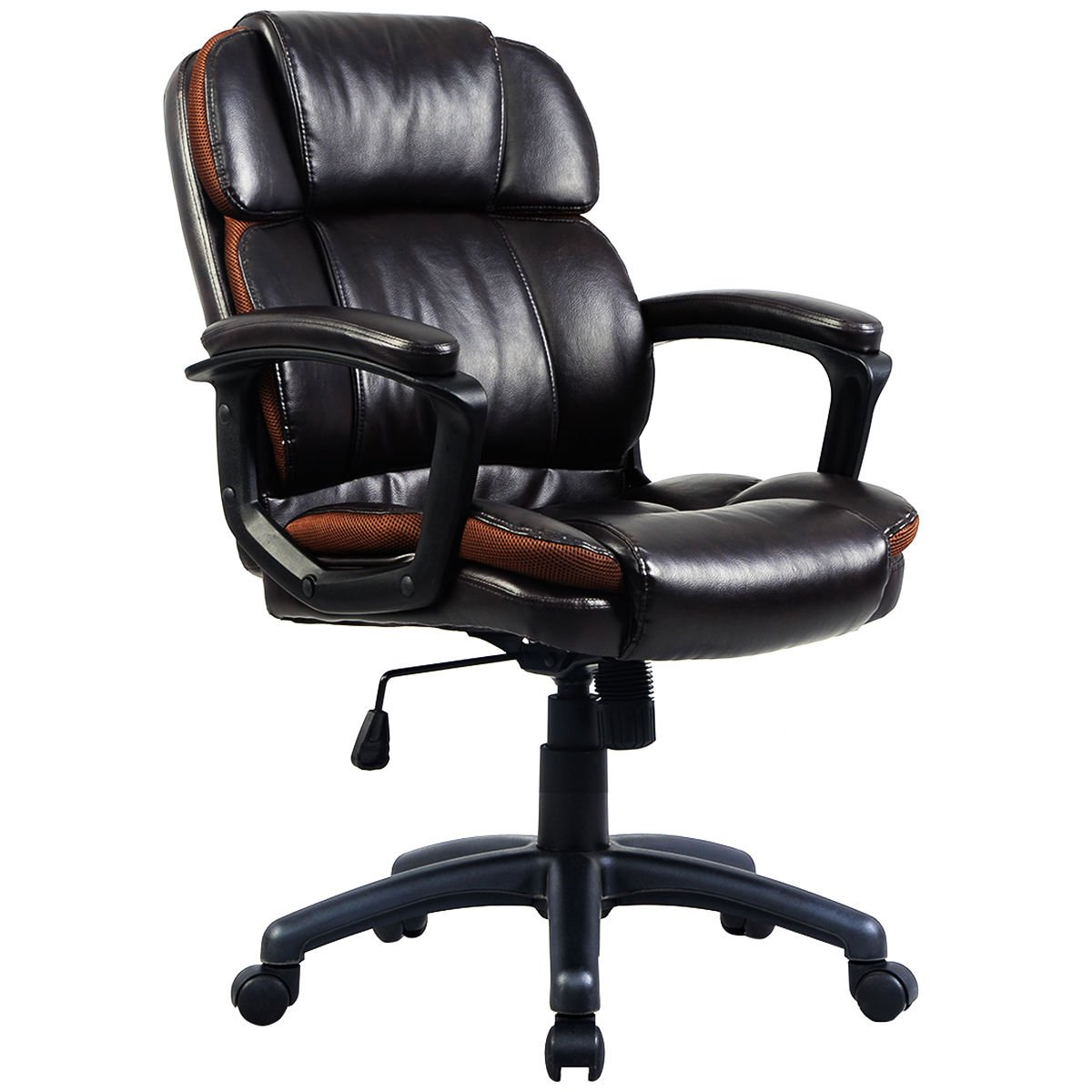 Giantex Ergonomic Task Chair PU Mid-Back Leather Executive Computer Desk Task Office Chair (Brown 24.4''x 28''x37.4''-41.3'')
