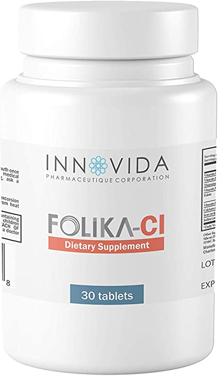 Innovida Pharmaceutique   Folika- CI Supplement   Vitamin B12 & B1 with Vitamin C and Iodine Supplement for A Healthy Nervous System  30 Tablets